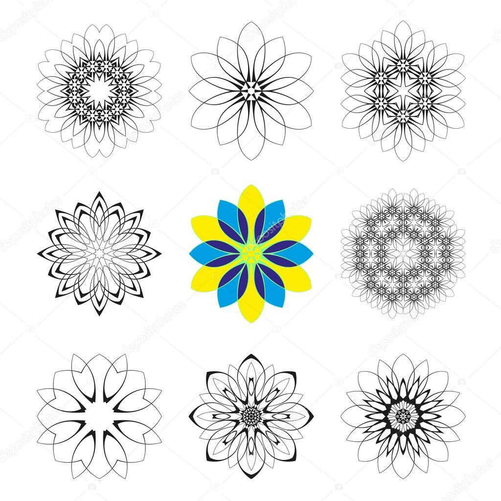 Round geometric ornaments set