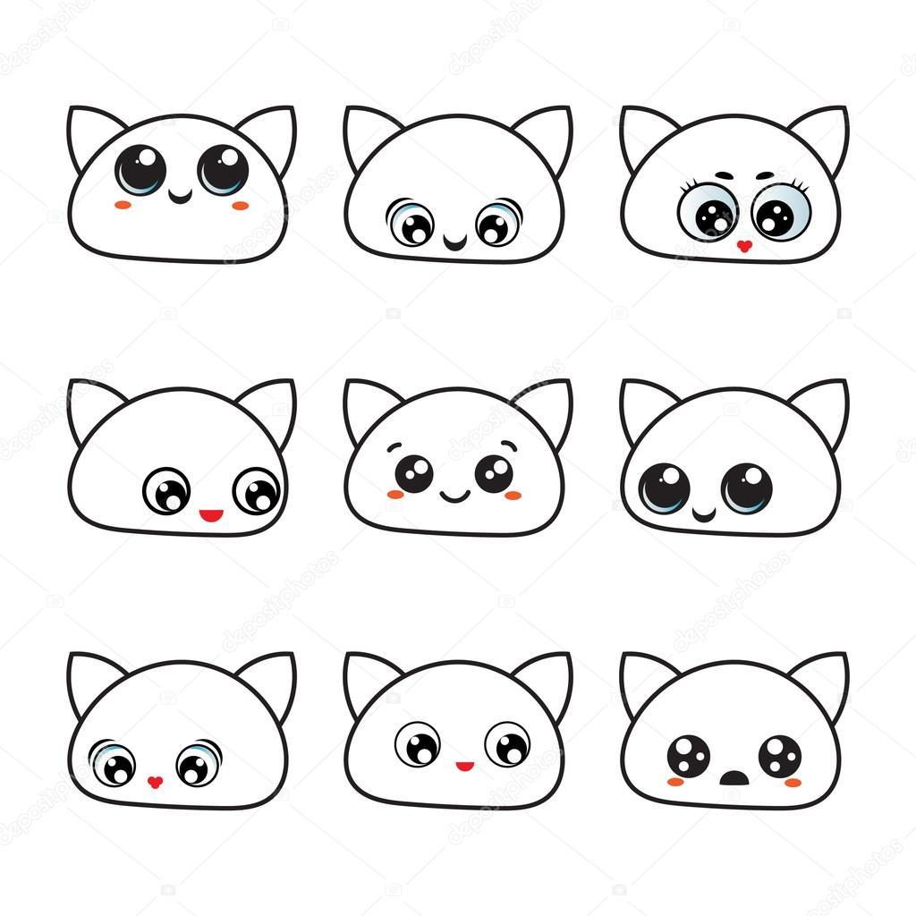 caras de estados de animo para imprimir ojos de kawaii conjunto