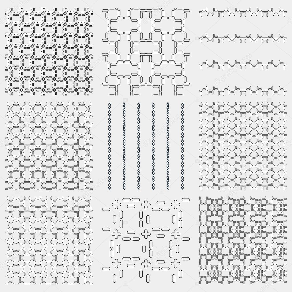 Uppsättning 4 Monokrom seamless mönster — Stock Vektor © tanuna ...