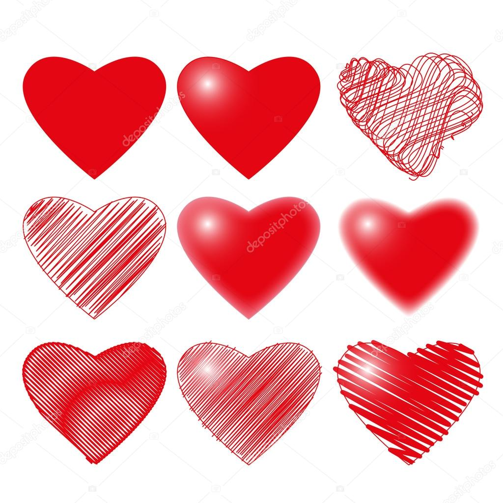 for valentine's day february 14 - collection of loving hearts for