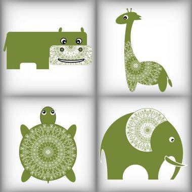 African animals. Lace trim.