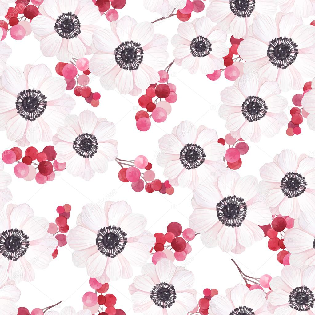 Seamless pattern with anemones and branches of red berries in vintage watercolor style, vector illustration. Nature seamless pattern