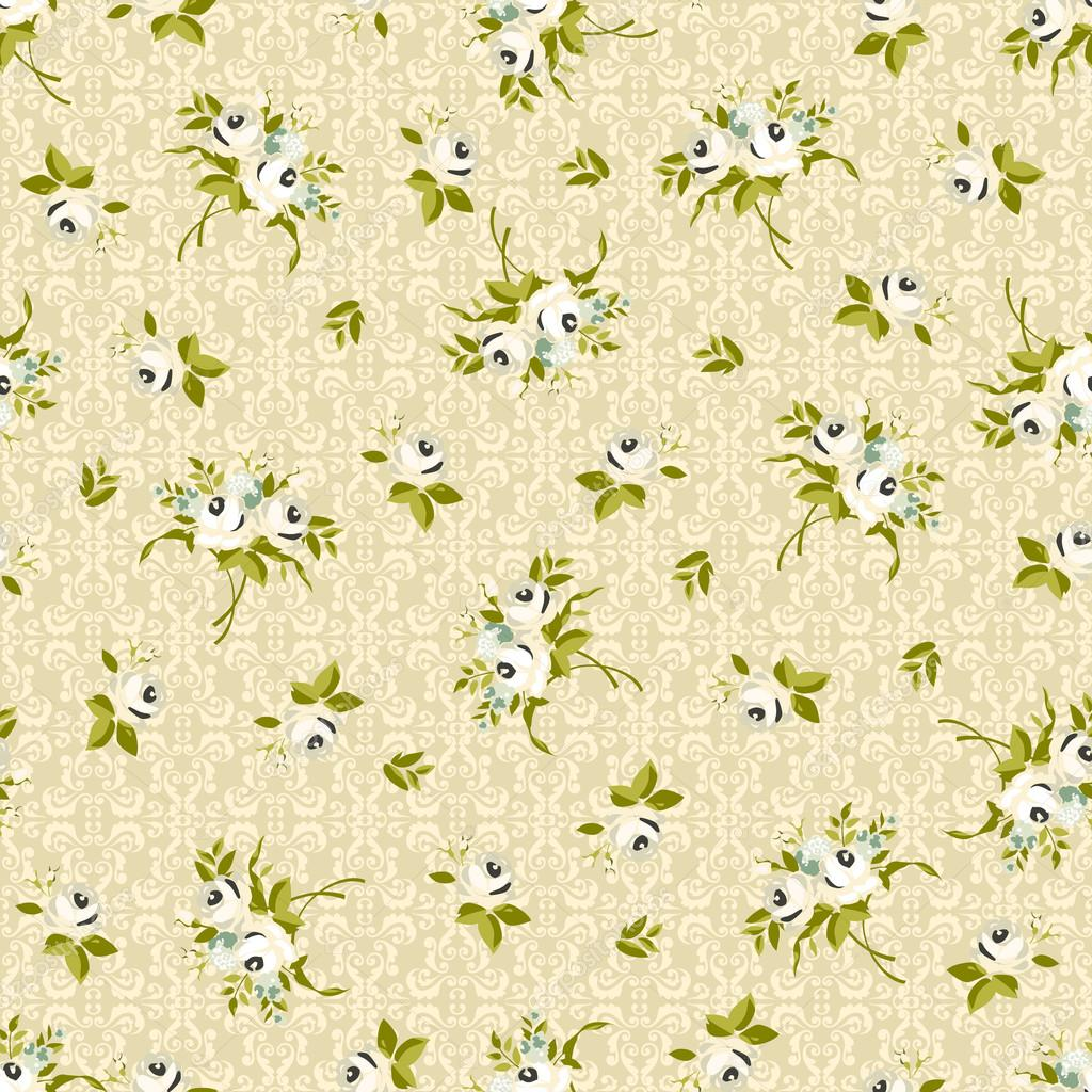 Seamless floral pattern with little white roses