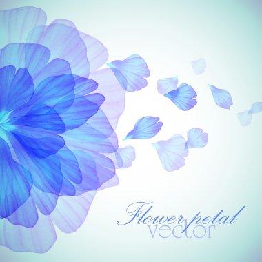 """Картина, постер, плакат, фотообои """"цветочный круглый узор с голубыми лепестками """", артикул 91192100"""