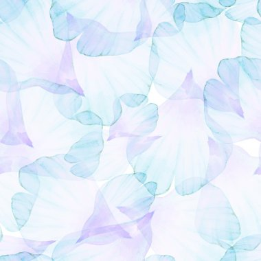 Seamless pattern with blue petals.