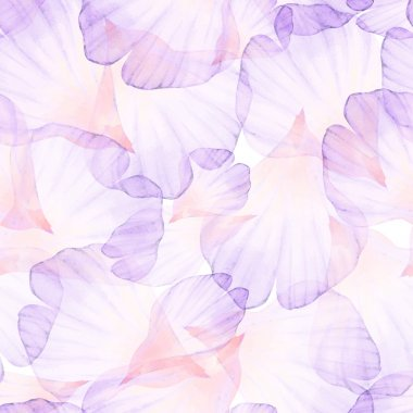 Watercolor Seamless pattern with flower petals