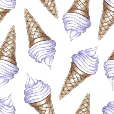 pattern with blueberries ice cream