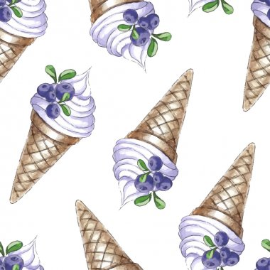 pattern with blueberries and ice cream cones