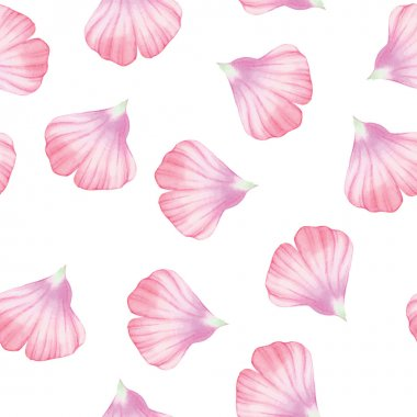 Watercolor Seamless pattern with Pink flower petals Vectorized watercolor drawing. stock vector