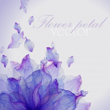 Watercolor card with Purple flower petal. Vectorized watercolor drawing. clip art vector