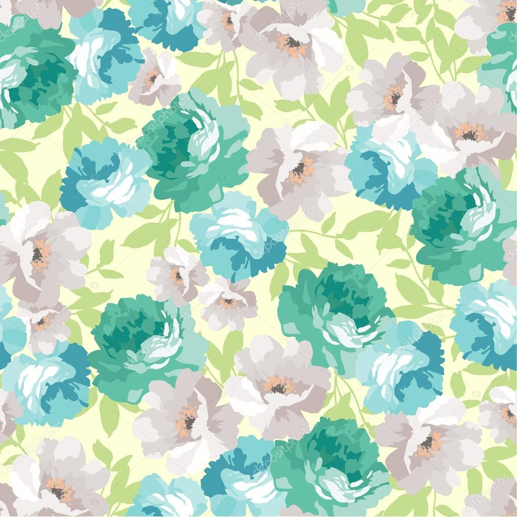 floral pattern with blue roses