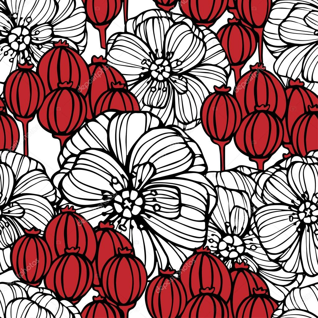 floral pattern with poppies flowers