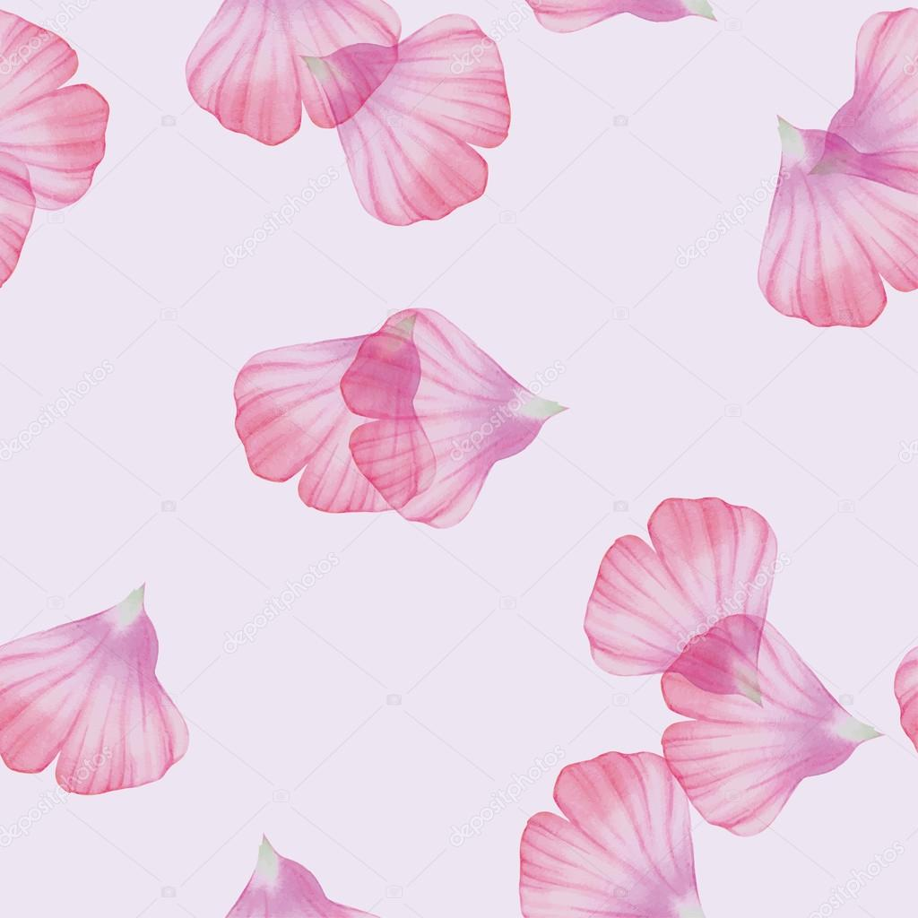Seamless pattern with Pink flower petals