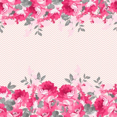 floral pattern with pink  roses