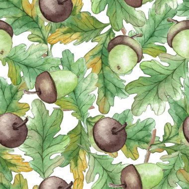 Watercolor Seamless pattern with acorns Autumn design template. Use for pattern, wallpaper, web page , backdrop, wrapping paper, fabric , background .Vector clip art vector