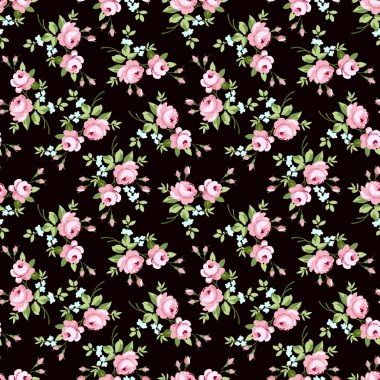 Seamless floral pattern with little pink roses