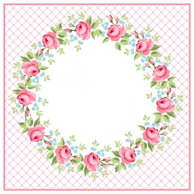 Beautiful floral Greeting card roundwith red roses