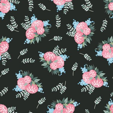 Seamless floral pattern with bouquet of flowers