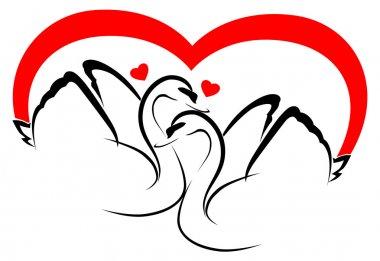 2 swans in love