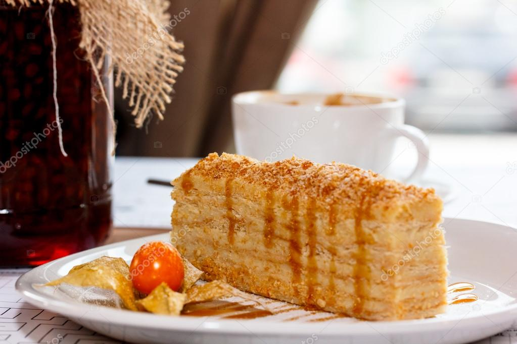 Russische Traditionelle Dessert Dem Napoleon Kuchen Stockfoto