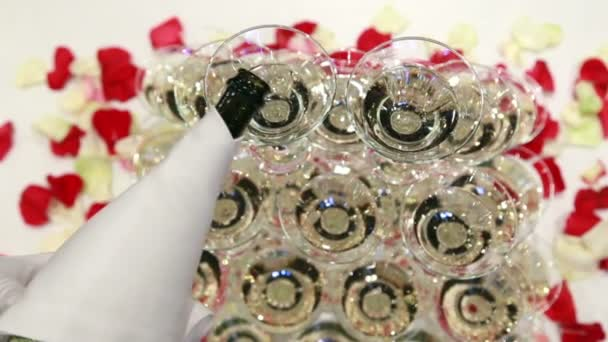 The Waiter Pours Champagne In Glass Tower rose petals background