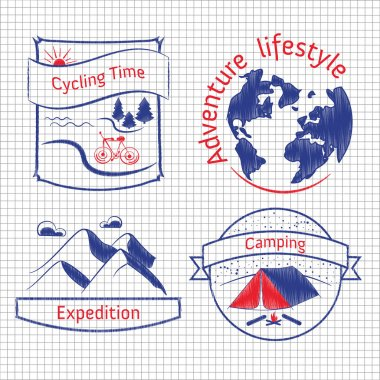 Hand drawn vector badges for camping, cycling, expedition. Set of vintage doodle labels of travel, wild nature, climbing, life in the mountains. Adventure lifestyle concept