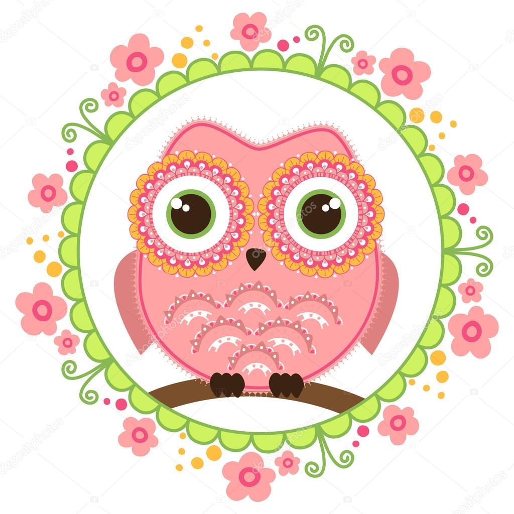 Chouette dessin anim mignon assis sur une branche dans la d coration florale de ronde carte - Image de chouette gratuite ...