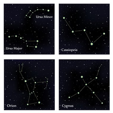 Set of constellations. Vector space and stars illustration