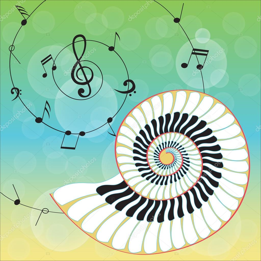 Creative isolated music shell on musical notes background