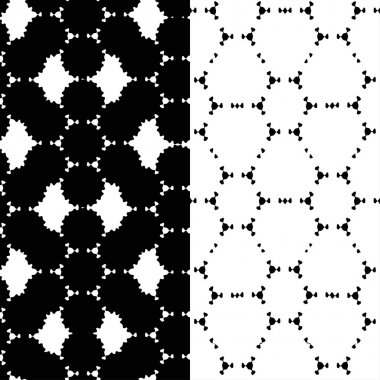 Abstract monochrome black and white doodle seamless patterns set, modern stylish texture