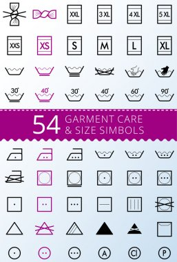 Laundry care symbols. Set of textile care icons. Wash and care signs of textile garment.