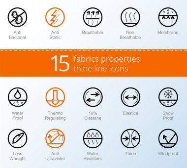 Properties of fabrics and garments simbols. Thine line vector icons.