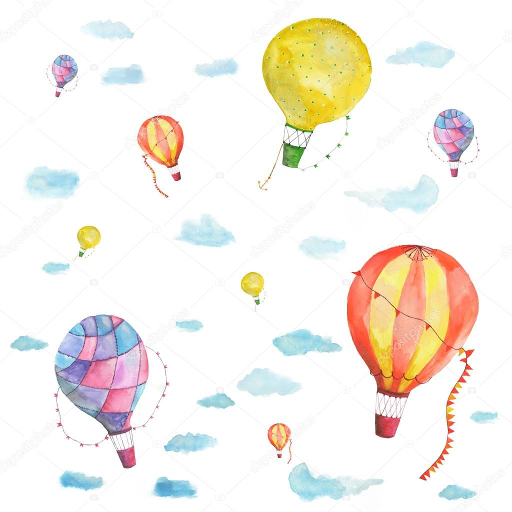 The texture of the balloon traveler watercolor