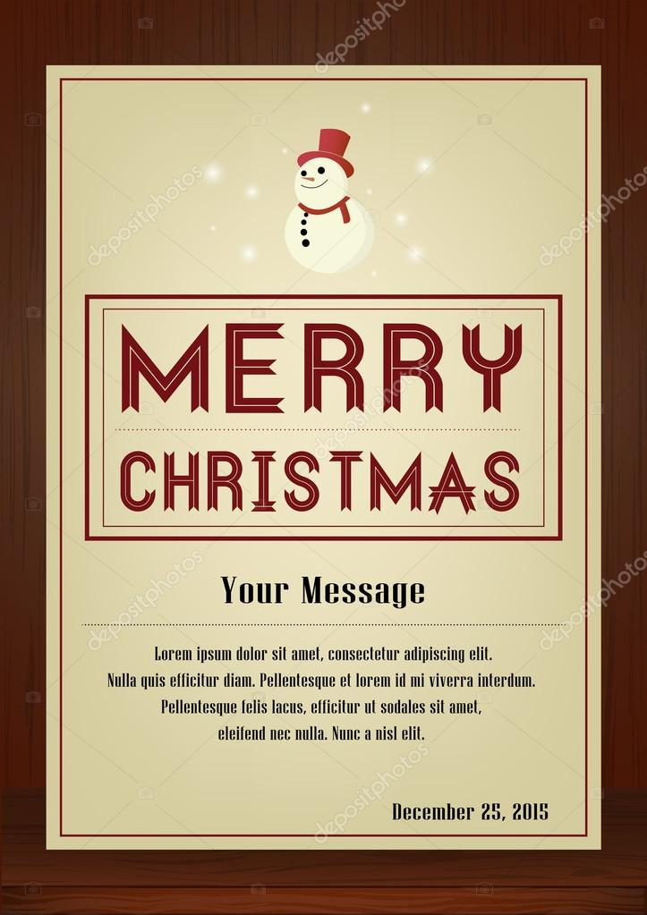 Merry Christmas Greeting Card In Vintage With Snowman Symbol On