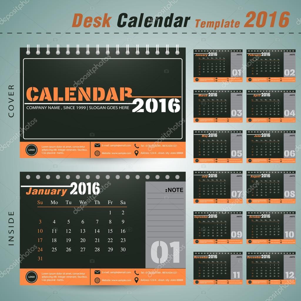 office naptár sablon Asztali naptár 2016 vektor tervezősablon újév cég office ábra  office naptár sablon