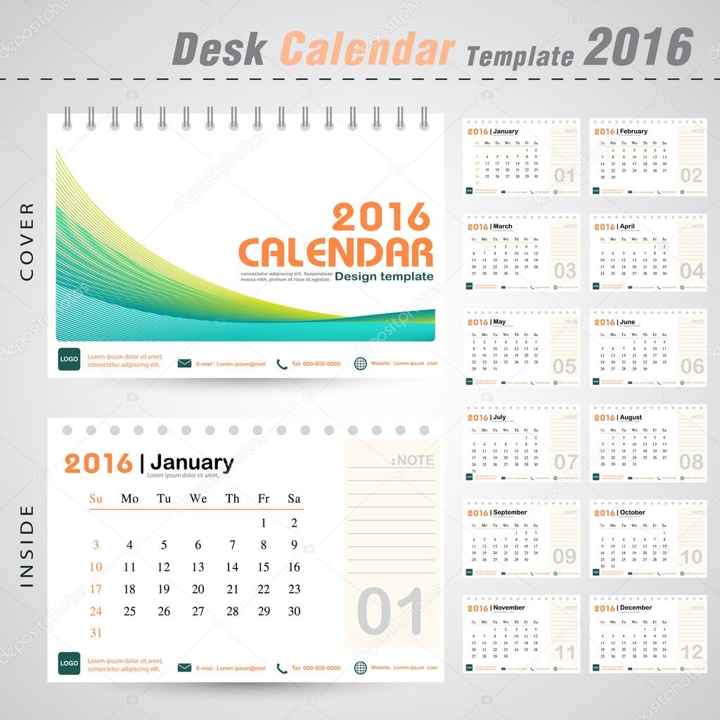 Office Calendar 2016 : Desk calendar line abstract design template for business