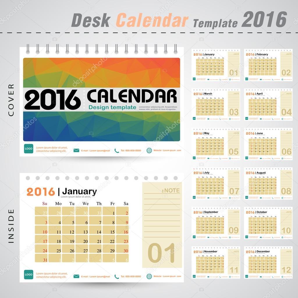 desk calendar 2016 vector design template with colorful triangle