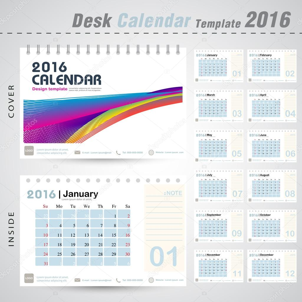 Office Calendar 2016 : Desk calendar colorful line abstract design template for