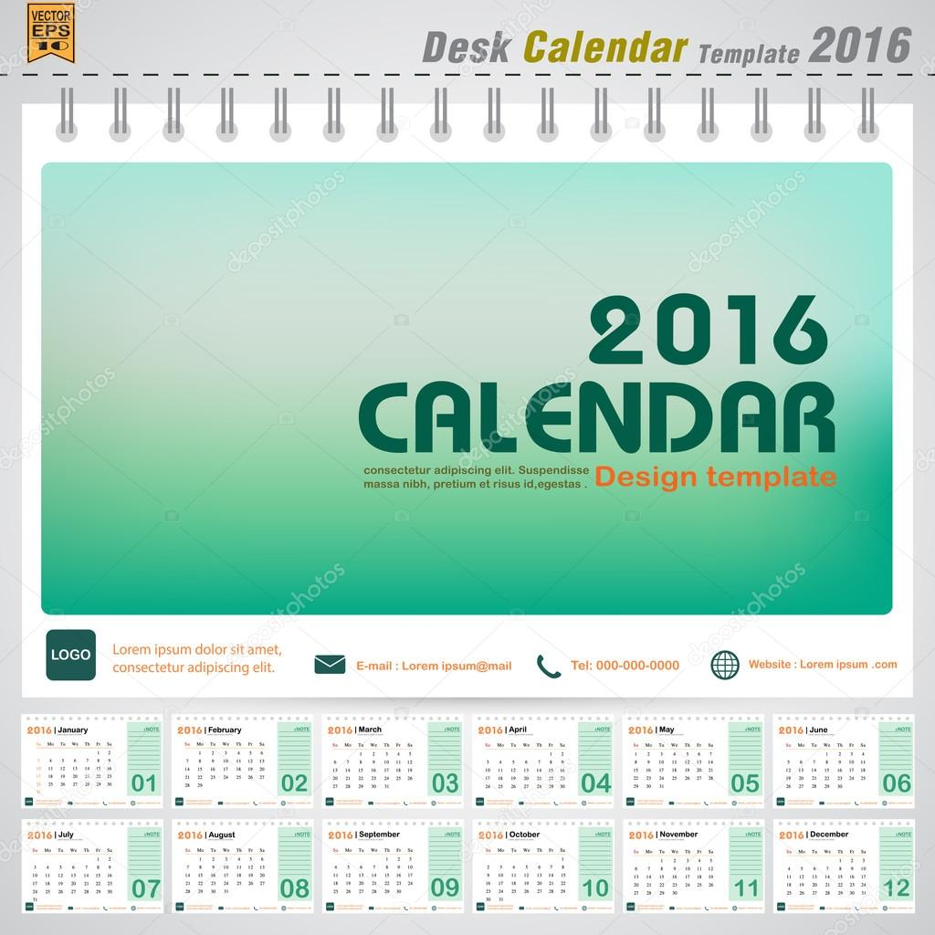 Office Calendar 2016 : Desk calendar vector modern green concept design cover