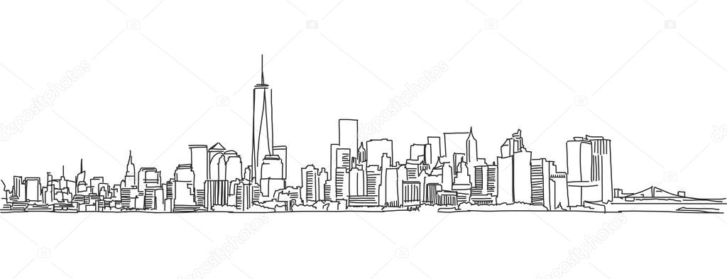 Line Art City : Free hand sketch of new york city skyline vector scribble