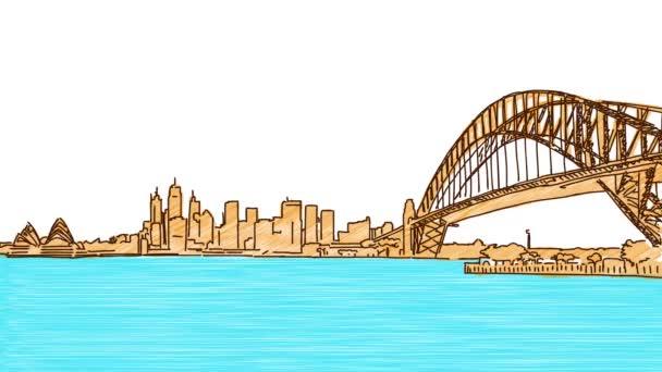 Sydney Downtown Panorama kreslení animace