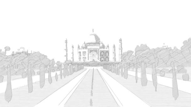 Taj Mahal Hand Drawn Sketch Animation