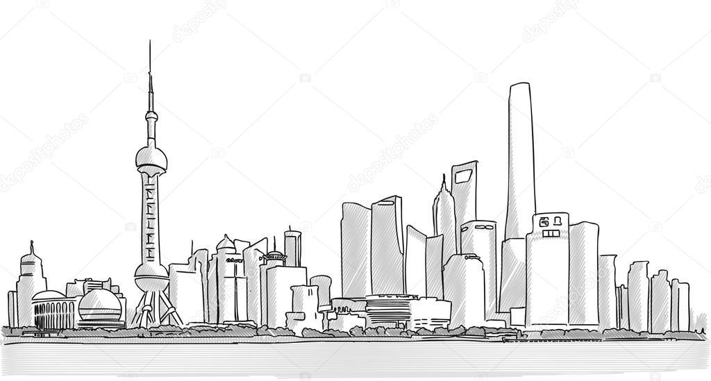 Dessin 224 Main Lev 233 E Panorama Du Centre Ville De Shanghai