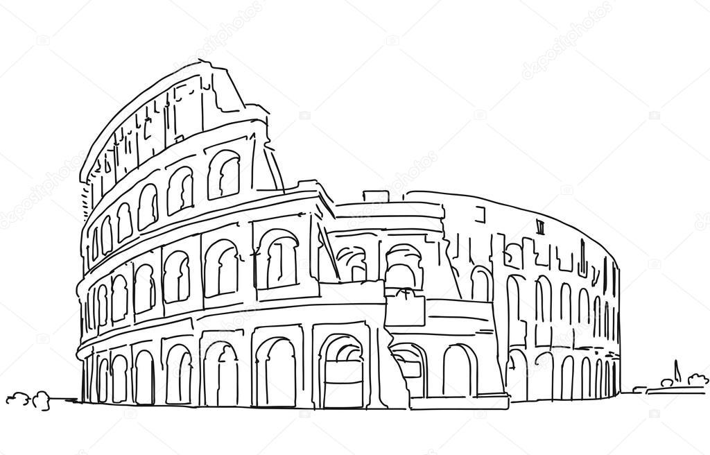Roma colosseo mano pulita fornita schizzo muta for Colosseo da colorare