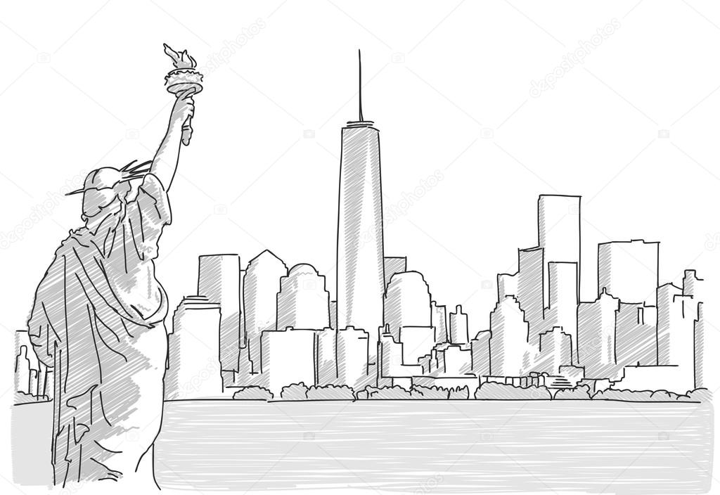 Line Art City : Free hand sketch of new york city skyline with statue