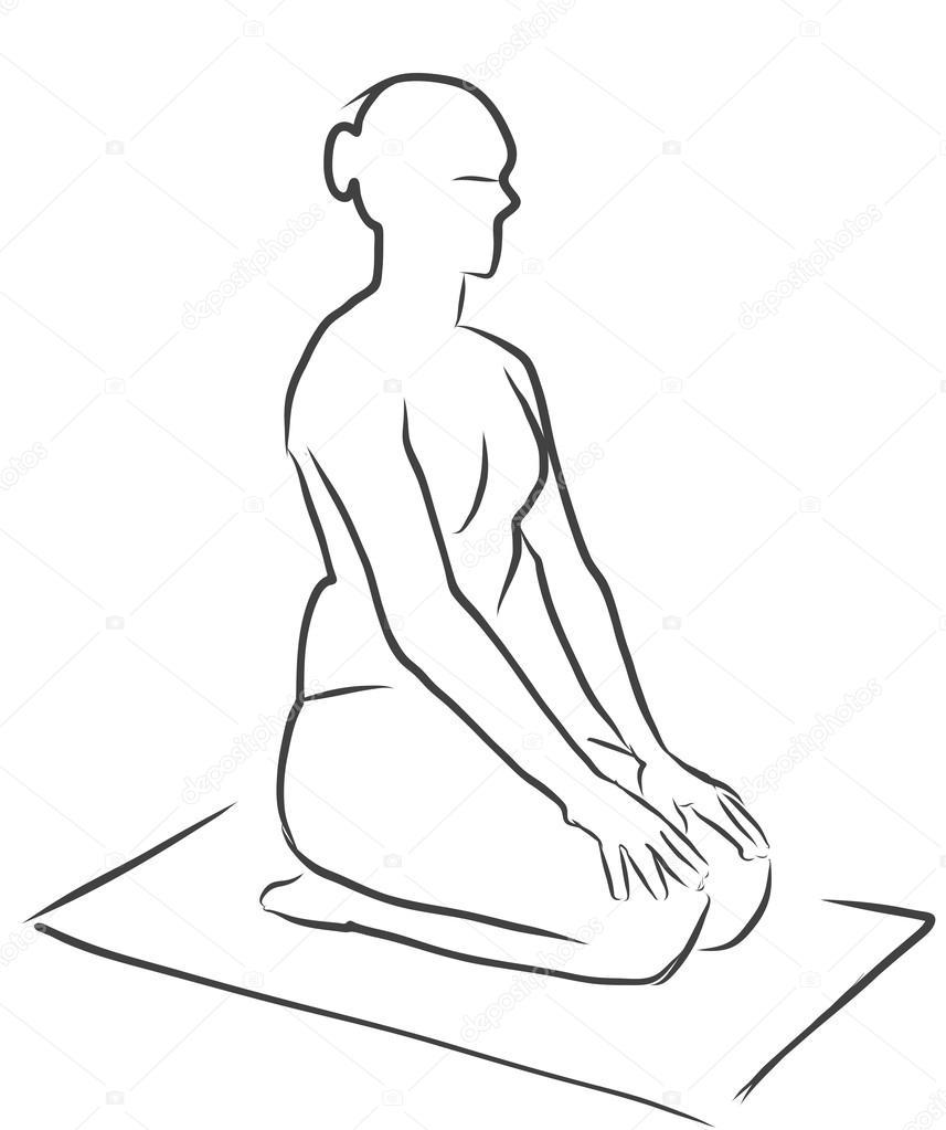 Vajrasana Diamond Pose, Figure de Yoga — Image vectorielle mail ...