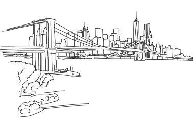 New York Panorama with brooklyn bridge