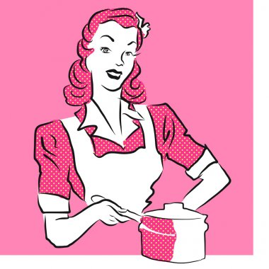 Pink Woman Coocking, Vintage Artwork.