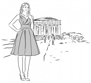 Nice Girl in Front of Temple in Agrigento, Sicily.