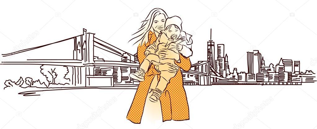 Madre con el niño ante el Panorama de Nueva York — Archivo Imágenes ...